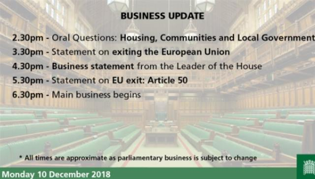 May to Speak Ahead of Vote Delay - House Of Commons Program (Chart 1)